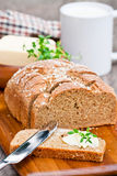 Sliced Irish stoneground soda  bread with butter and thyme on the Stock Photography