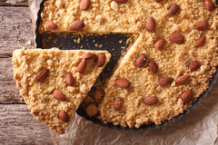 Sliced Italian Pie Sbrisolona close-up on the table. horizontal Royalty Free Stock Photos
