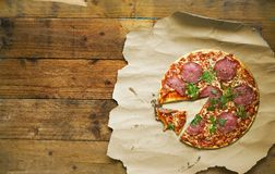 Sliced italian pizza salami Royalty Free Stock Photography