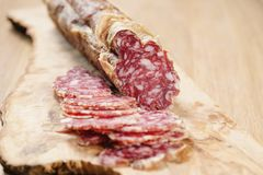 Sliced italian salame close up shot Stock Images