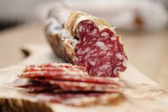 Sliced italian salame close up shot Royalty Free Stock Photography