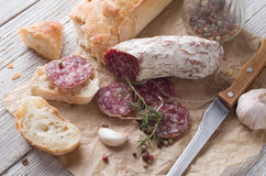 Sliced Italian Salami Stock Images