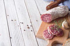 Sliced Italian Salami Stock Image