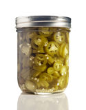 Sliced Jalapenos (Capsicum Annuum) in a Glass Jar Stock Images