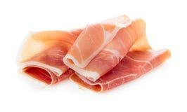 Sliced of jamon. Isolated on white background Stock Photography