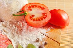 Sliced juicy red tomato Stock Images