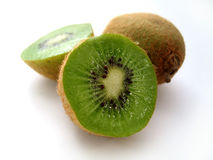 Sliced Kiwi. Sitting on a white background stock image