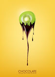 Sliced Kiwi dipped in melting dark chocolate, fruit, fondue recipe concept, transparent, Vector illustration. Eps10 Stock Photography