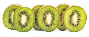 Sliced kiwi fruit in row isolated Stock Images