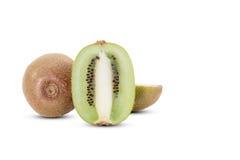 Sliced kiwi fruits with soft shadow on white background Stock Photos