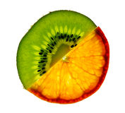 Sliced kiwi and mandarin Stock Images