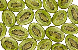 Sliced kiwi. On a white background lit from below royalty free stock photography