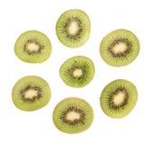 Sliced kiwifruit section isolated Stock Photos