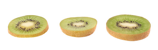 Sliced kiwifruit section isolated Stock Photos