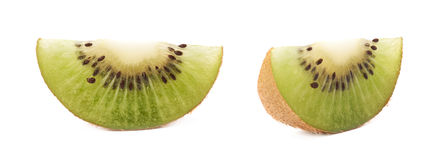 Sliced kiwifruit section isolated Stock Photography