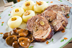 Sliced lamb roast with noodles Stock Photography