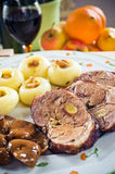 Sliced lamb roast with noodles Stock Image