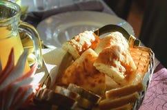 Sliced lavash chunks on a served table. royalty free stock photos