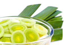 Sliced leek in glass bowl Royalty Free Stock Photography