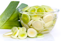 Sliced Leek In Glass Bowl Royalty Free Stock Image