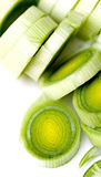 Sliced Leeks. Against a white background royalty free stock photos
