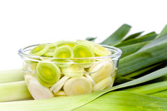 Sliced leeks in a bowl. A bunch of sliced leeks in a glass bowl stock image