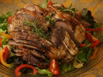 Sliced leg of lamb Royalty Free Stock Image