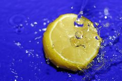 Sliced lemon in blue water. Sliced lemon immersed in clear blue water Royalty Free Stock Image
