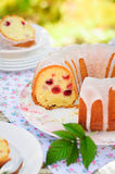 Sliced Lemon and Caraway Seed Bundt Cake with Raspberries Stock Photo
