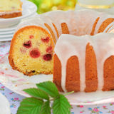Sliced Lemon and Caraway Seed Bundt Cake with Raspberries Royalty Free Stock Images