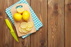 Sliced lemon on cutting board Stock Image
