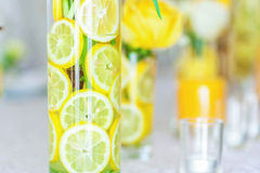 Sliced lemon with flower Royalty Free Stock Photo