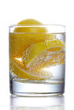 Sliced lemon in glass of mineral water Stock Images