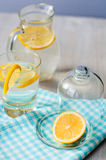 Sliced lemon with a glass of water. Sliced lemon with water in the glass Stock Photos