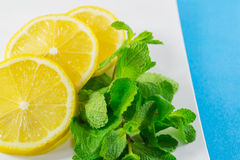 Sliced lemon and  mint Stock Photography