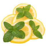 Sliced lemon with mint leaves Stock Photography