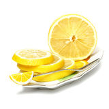 Sliced, lemon on a plate on a white background. (with sample text Royalty Free Stock Images