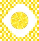 Sliced Lemon on Yellow Tiled Background Stock Photography