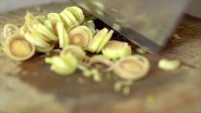 Sliced lemongrass stock footage