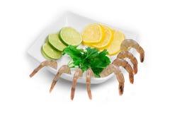 Sliced lemons and boiled shrimps. Stock Image