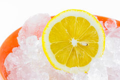 Sliced lemons and ice cubes Royalty Free Stock Photos