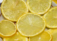 Sliced lemons. On the plate on the table closeup Royalty Free Stock Image