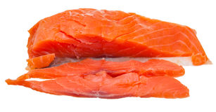 Sliced lighty smoked salmon red fish fillet Stock Image