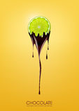 Sliced lime dipped in melting dark chocolate, fruit, fondue recipe concept, transparent, Vector illustration. Eps10 Stock Images