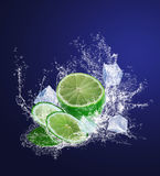 Sliced lime with ice pieces in water drops Stock Image