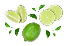Sliced lime isolated on white background. Top view. Flat lay pattern.  stock photo