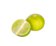 Sliced limes isolated on white Royalty Free Stock Photography