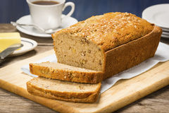 Sliced Loaf of Banana Walnut Bread Stock Image