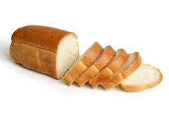 Sliced loaf of bread. On white background Stock Photo