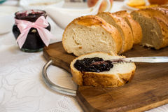 Sliced loaf of bread with currant jam Royalty Free Stock Photo